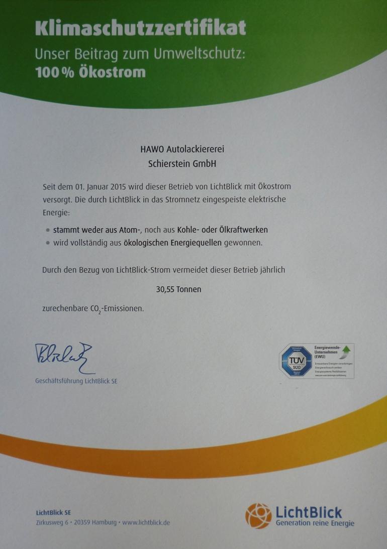 Zertifikat Ökostrom klein